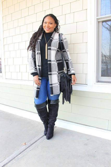 d9d77969cd8c1 Plus Size Modeling Auditions.  thickgrlscloset from A Thick Girls Closet  layers her J.Jill jacquard plaid topper over a turtleneck.