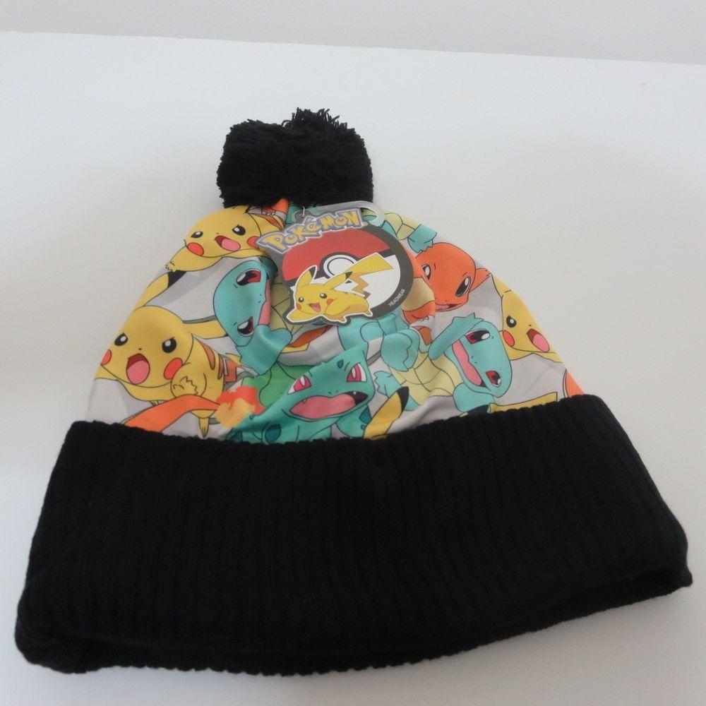 c3f5423c6aa New Nintedo Pokemon Pikachu Group Winter HAT Black Beanie Halloween Cosplay  Cap  BioworldOfficiallyLicensed  Beanie
