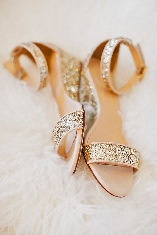 e3794731aafec Sparkly gold bridal flats - perfect for partying in style