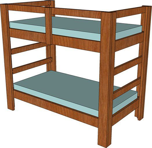 2x4 And 2x6 Twin Bunk Bed Plan Loft Bed Twin Bunk Beds