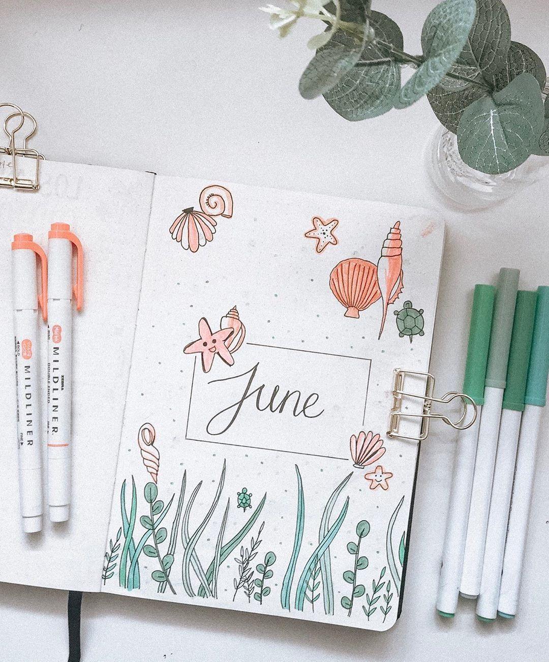 Summer Bullet Journal Cover Page Ideas | Heraldeecreates
