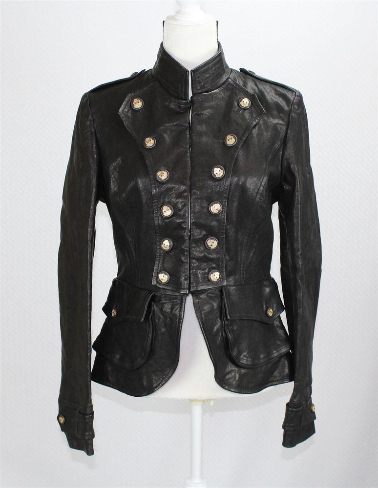 192ffd8597ba7 NWT Dolce   Gabbana Women s Leather Jacket 44 8 L Slim Black Military Style   DolceGabbana  Military