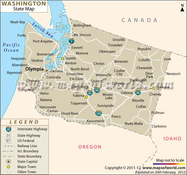 Map of Washington   La Push is not far from the town of Forks, on