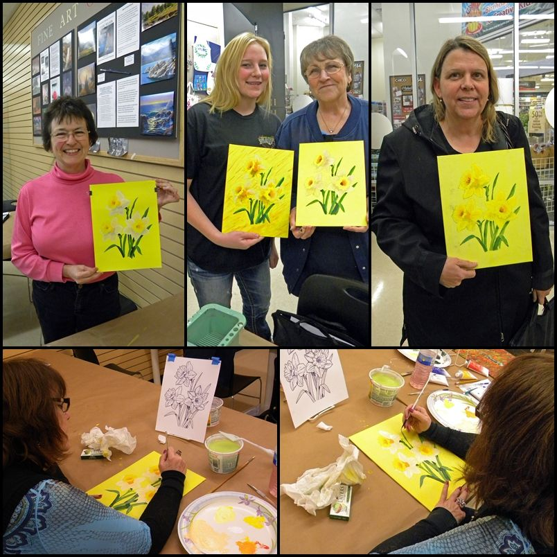 Frank Wilson's students show off their work from one of his Grumbacher Acrylic Painting Workshops at Michaels in Chico, California.