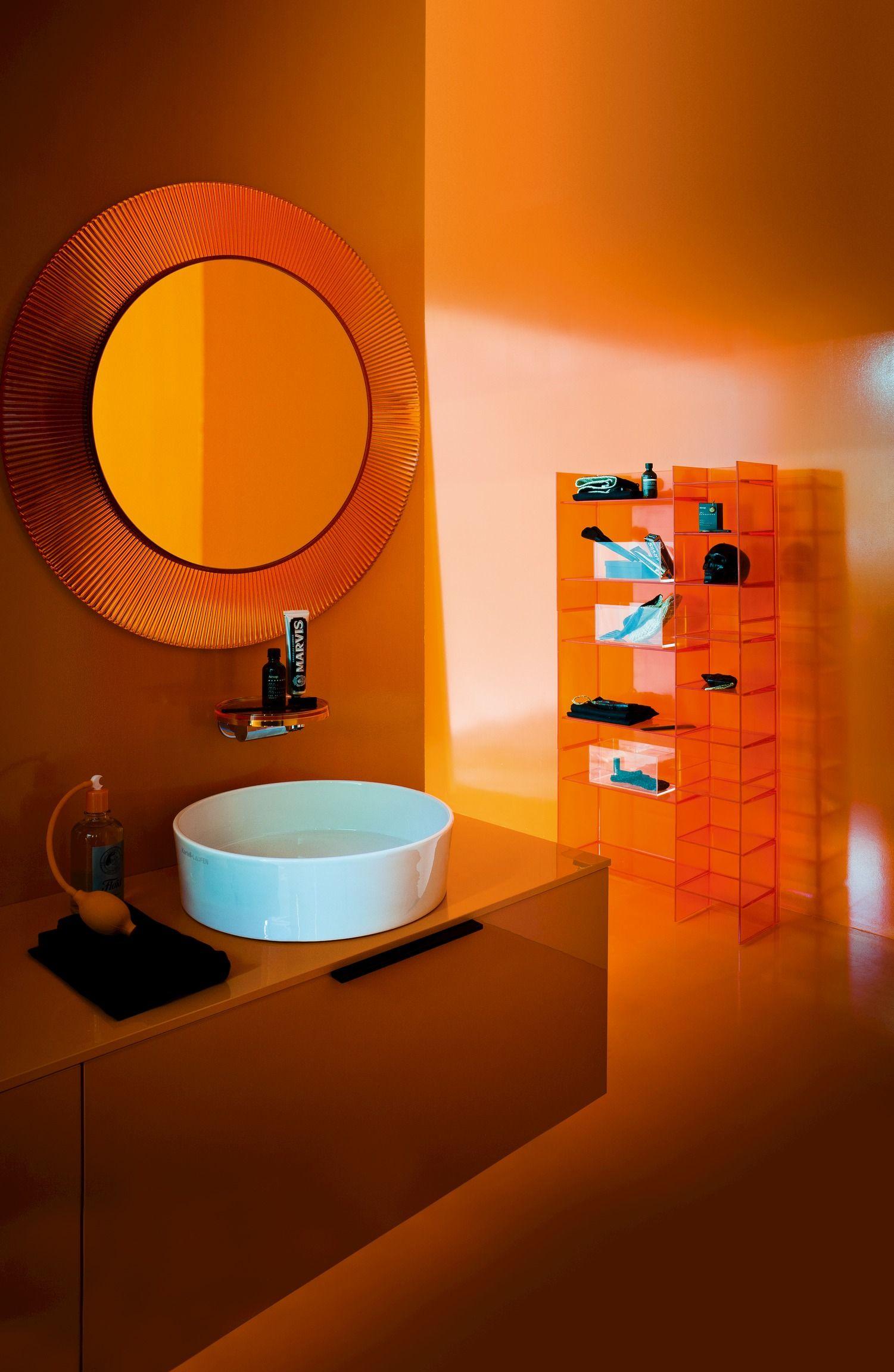 Kartellbylaufen Laufen Kartell Salledebain Meuble Orange Miroir Mural Decoration Murale Miroir Miroir Mural Rond