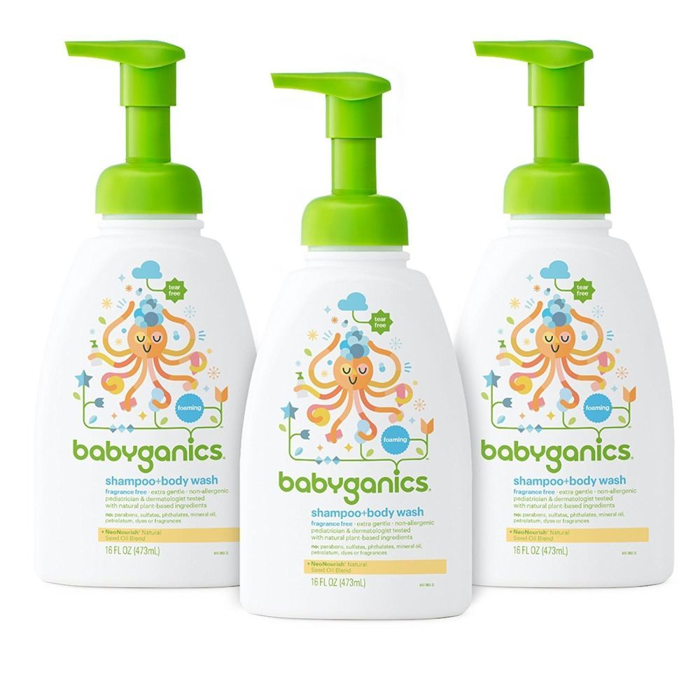 Baby Shampoo And Body Wash Fragrance Free Pack Of 3 Tear Free Foaming Gentle Babyganics Babyganics Baby Shampoo Fragrance Free Products