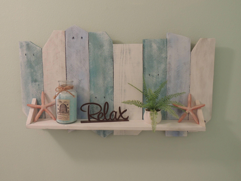 Beach Wall Shelf Reclaimed Wood Rustic Wood Shelf Coastal Cottage