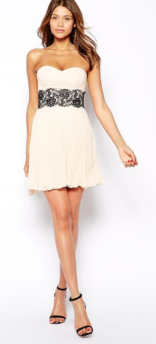 ELISE RYAN nude dress with scallop lace waist found at Nudevotion.com