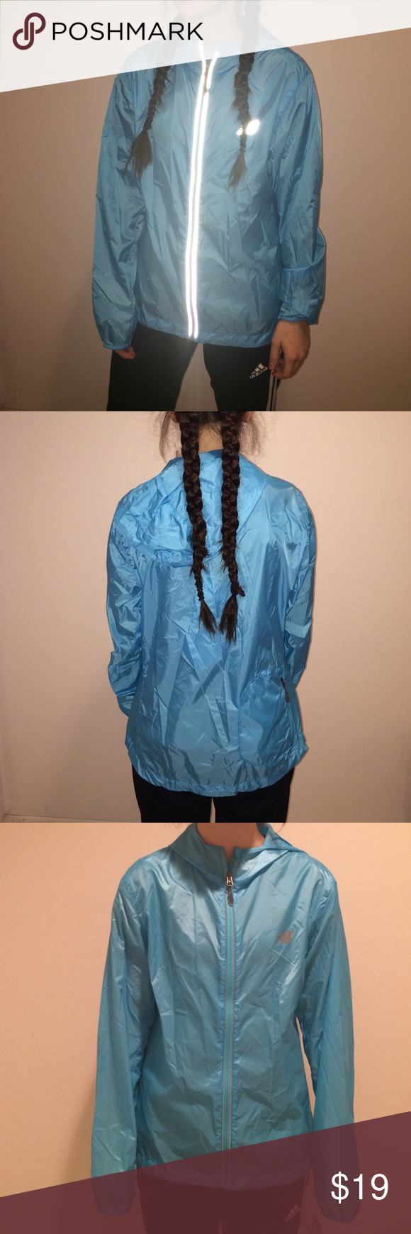 Bright Blue wind breaker Very light fabric//wind breaker and is  water proof and never worn , still has tags New Balance Jackets & Coats