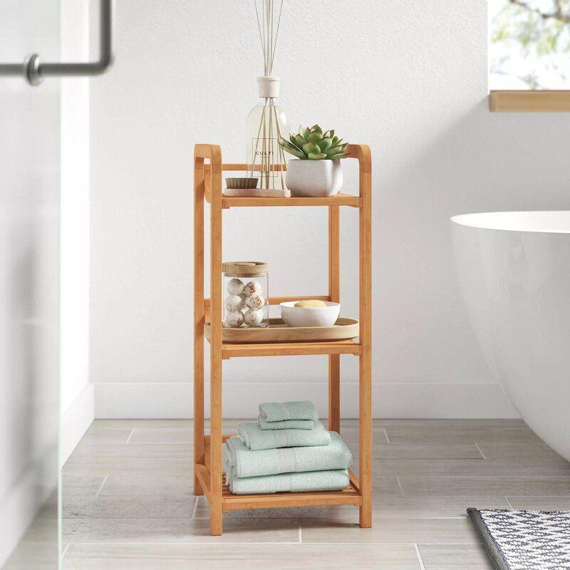 Ben 12 W X 27 75 H X 12 D Free Standing Bathroom Shelves Free Standing Shelves Shelves Slatted Shelves