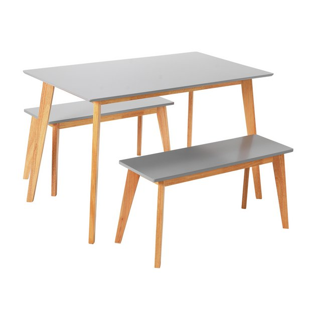 Buy Argos Home Harlow Dining Table & 2 Grey Benches
