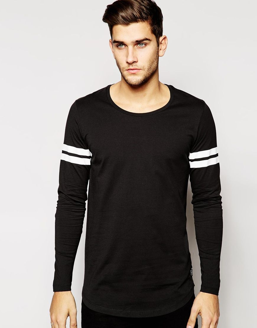 Jack & Jones Long Sleeve Top with Varsity Stripe at asos.com