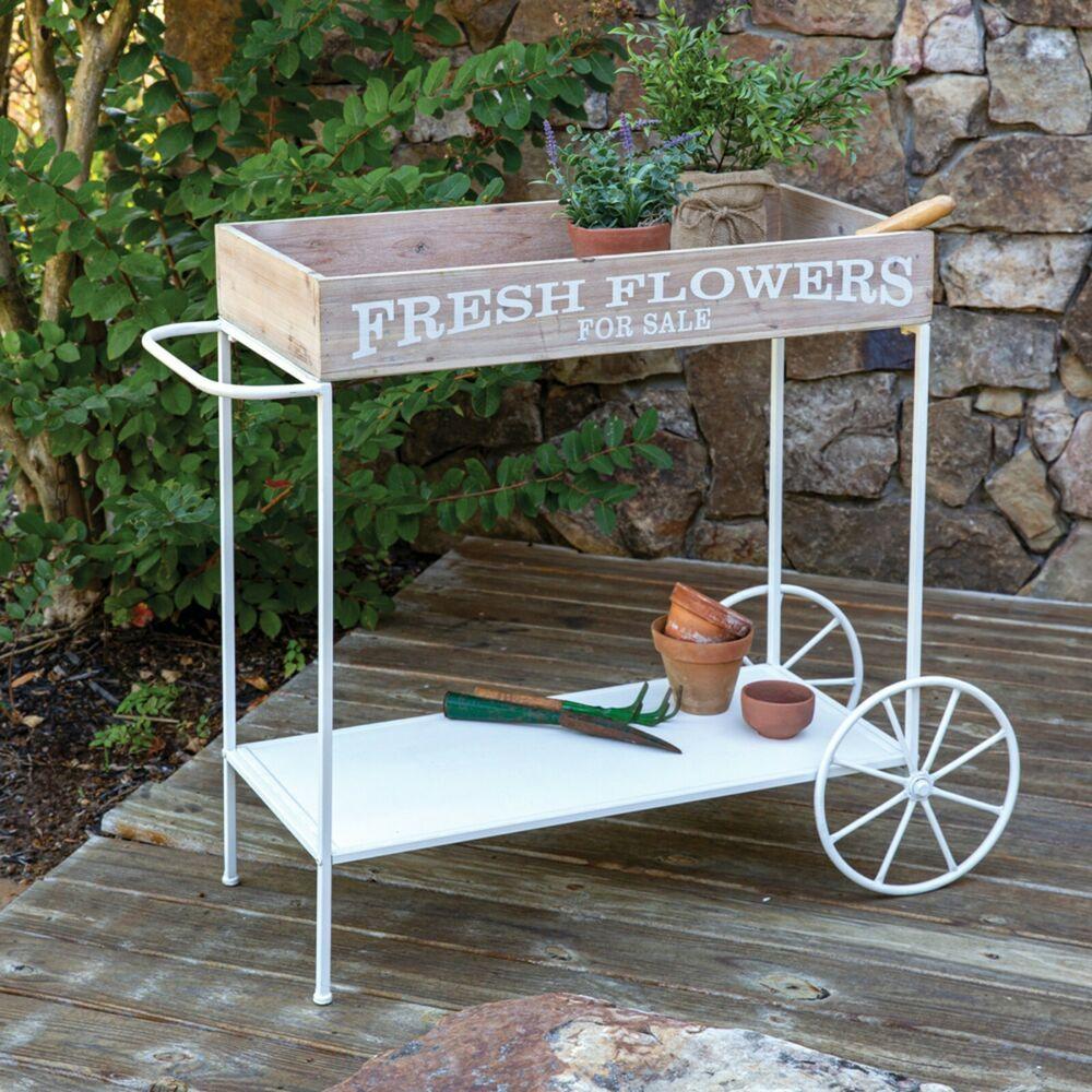Unique Outdoor Rolling Garden Fresh Flower Cart With