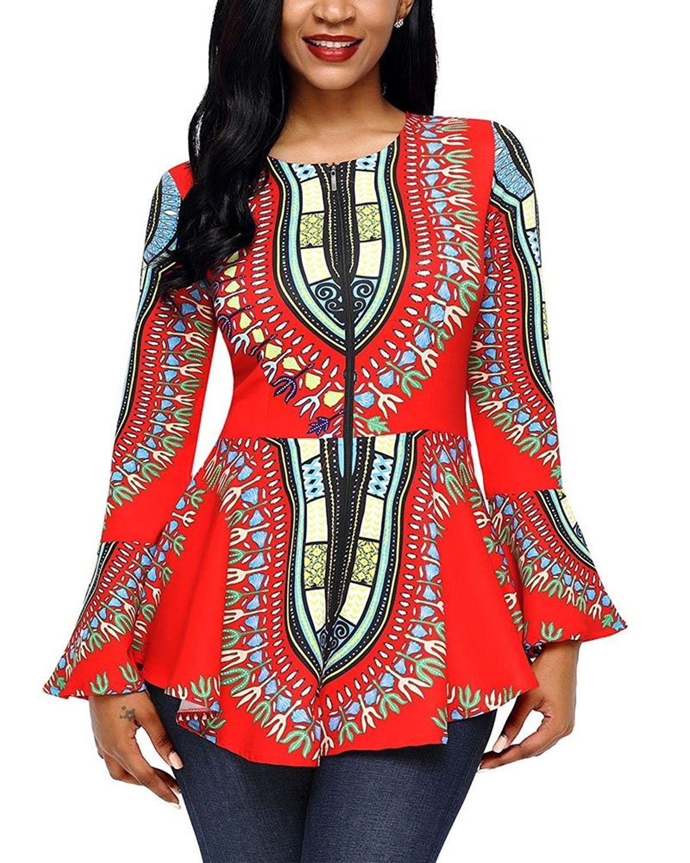 1406c5e338914 Women s Plus Size Long Sleeve African Print Shirt Blouse Top ...