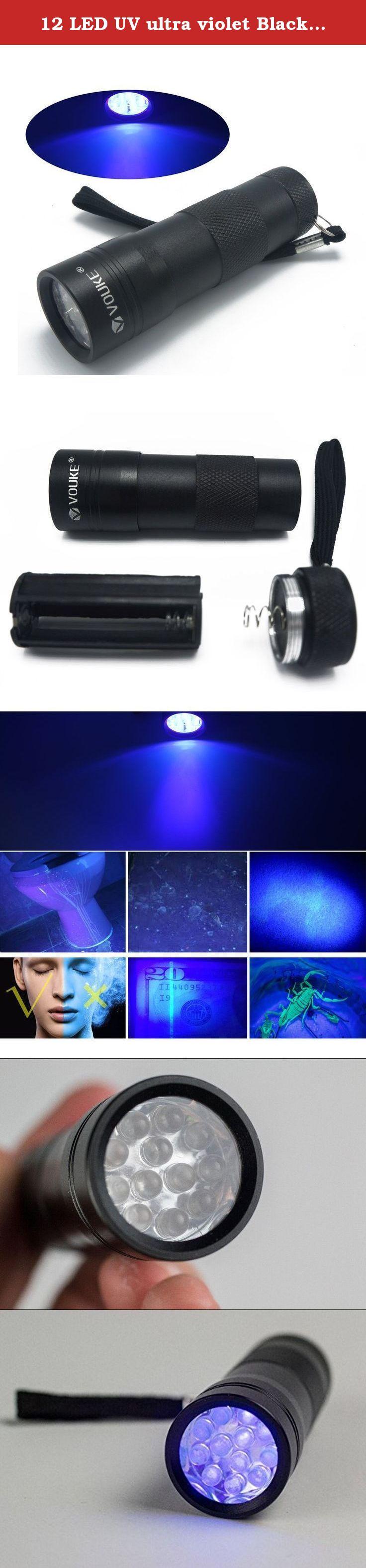 12 LED UV ultra violet Black Light Flashlights torch light