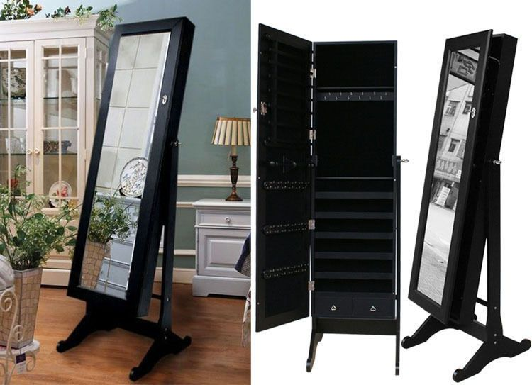 Black Mirrored Jewelry Cabinet Armoire Stand Mirror Necklaces Bracelets Rings Jewelry Mirror Mirror Jewellery Cabinet Jewelry Cabinet