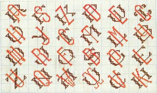 Alphabet 24 | Free chart for cross-stitch, filet crochet | Chart for pattern - Gráfico
