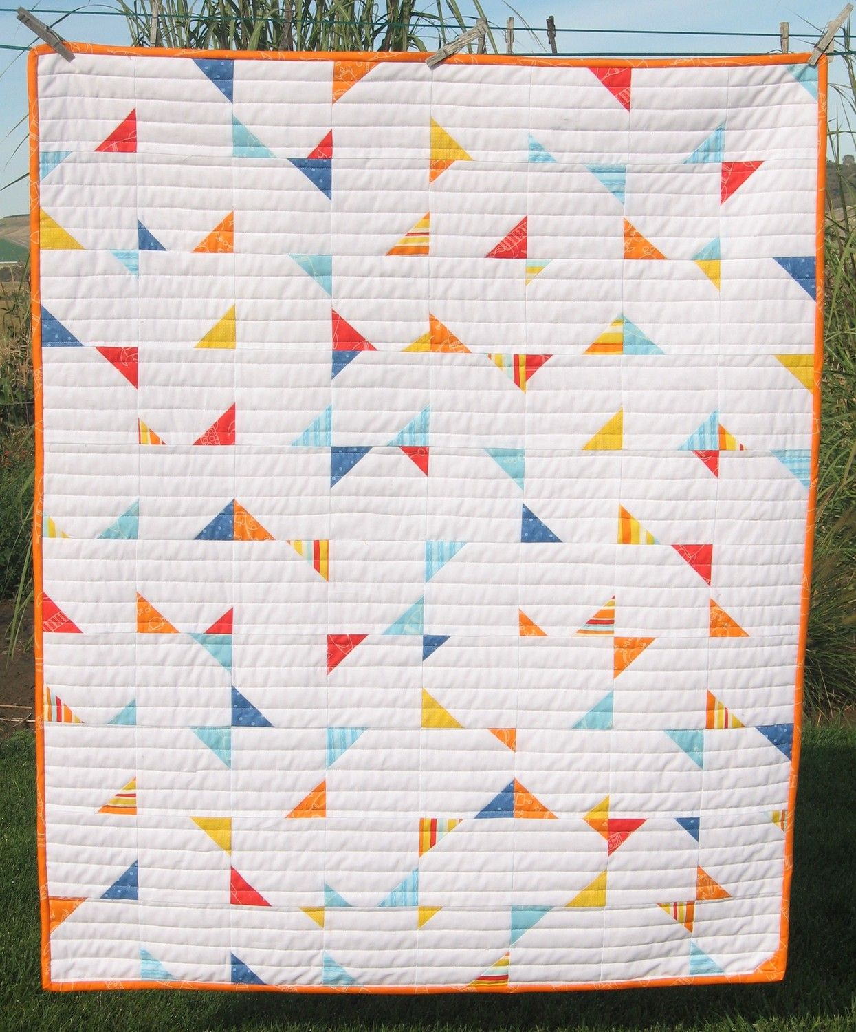 "Create this adorably fun and completely random baby quilt or wall hanging using this easy PDF pattern.  Measures 37 x 45  Fabric Requirements: 1 ½ yards neutral fabric 80- 2 ½"" squares printed fabric (can be cut from a charm pack) 1 ½ yards backing 1/3 yard binding  FrozenKnickers quilts: http://www.etsy.com/shop/FrozenKnickers?section_id=6972832 FrozenKnickers patterns: http://www.etsy.com/shop/FrozenKnickers?section_id=6975196  All items are shipped within 48 hours of payment clearing…"
