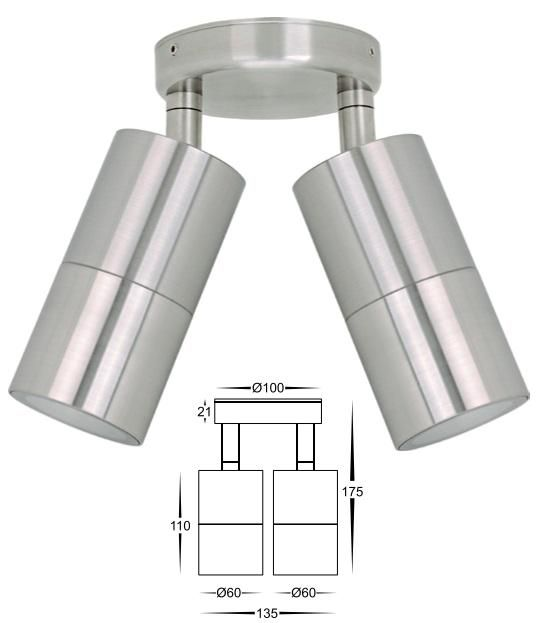 HV1372 Stainless Steel Double Adjustable LED Wall Light from DaVoluceLighting.com.au, Quality Outdoor Lighting