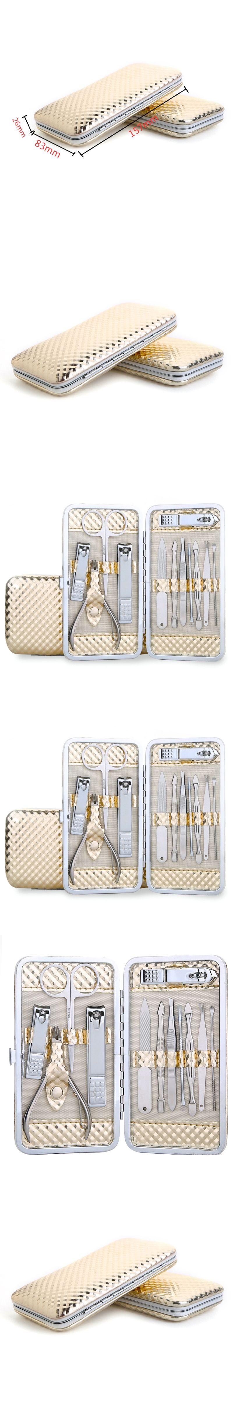 12Pcs/set Luxury Gold Nail Art Tools Kits with Storage Box Nail ...
