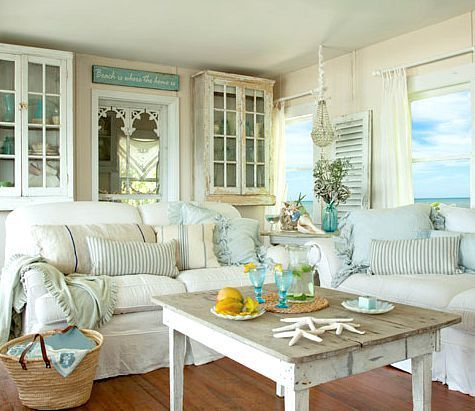 Shabby Chic White Pastel Living Room In A Beach Cottage Take