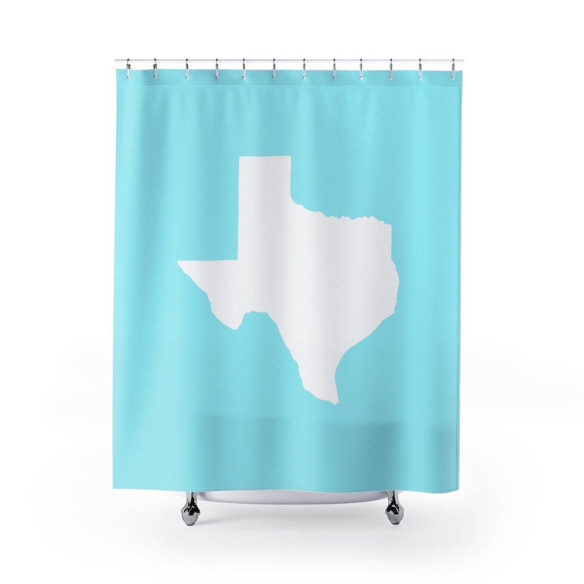 Ice Blue Texas Shower Curtain Aqua Texas State Shower Curtain