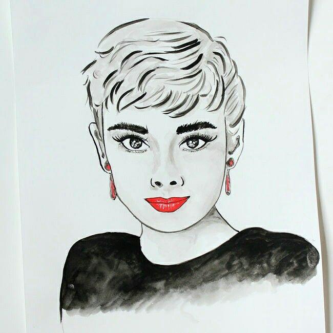 schwarz wei zeichnung von der stilikone audrey hepburn meine zeichnung pinterest. Black Bedroom Furniture Sets. Home Design Ideas