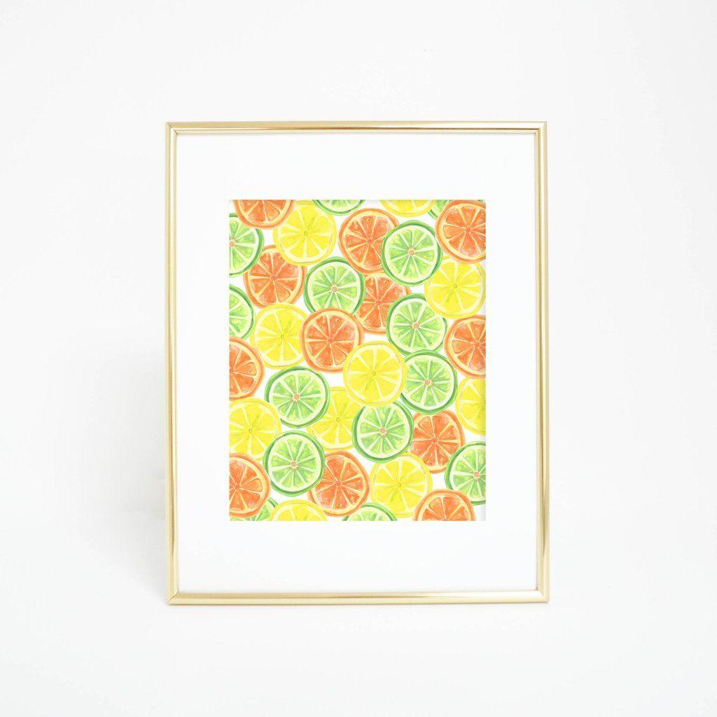 Watercolor Citrus Fruit Pattern Wall Art Digital Print | Citrus ...
