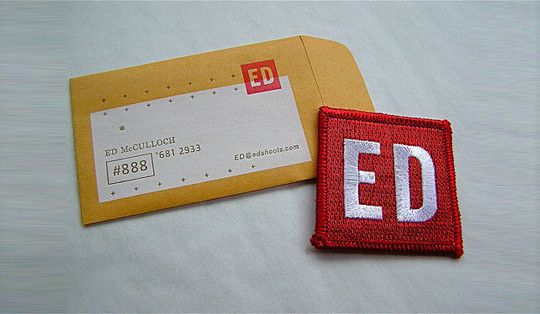 Creatively designed collection of unique business cards this very creative business card for ed mulloch is in the shape of an envelope and comes with a small patch insidee card was designed by funnel tv reheart Images