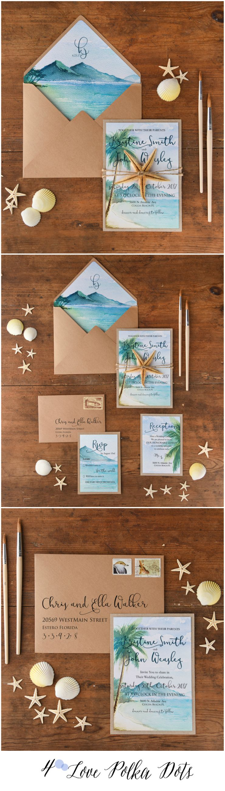 7d24eaf6a71b1 Beach Sea Watercolor wedding invitations in rustic feel  weddingideas   rustic  blue  seaside