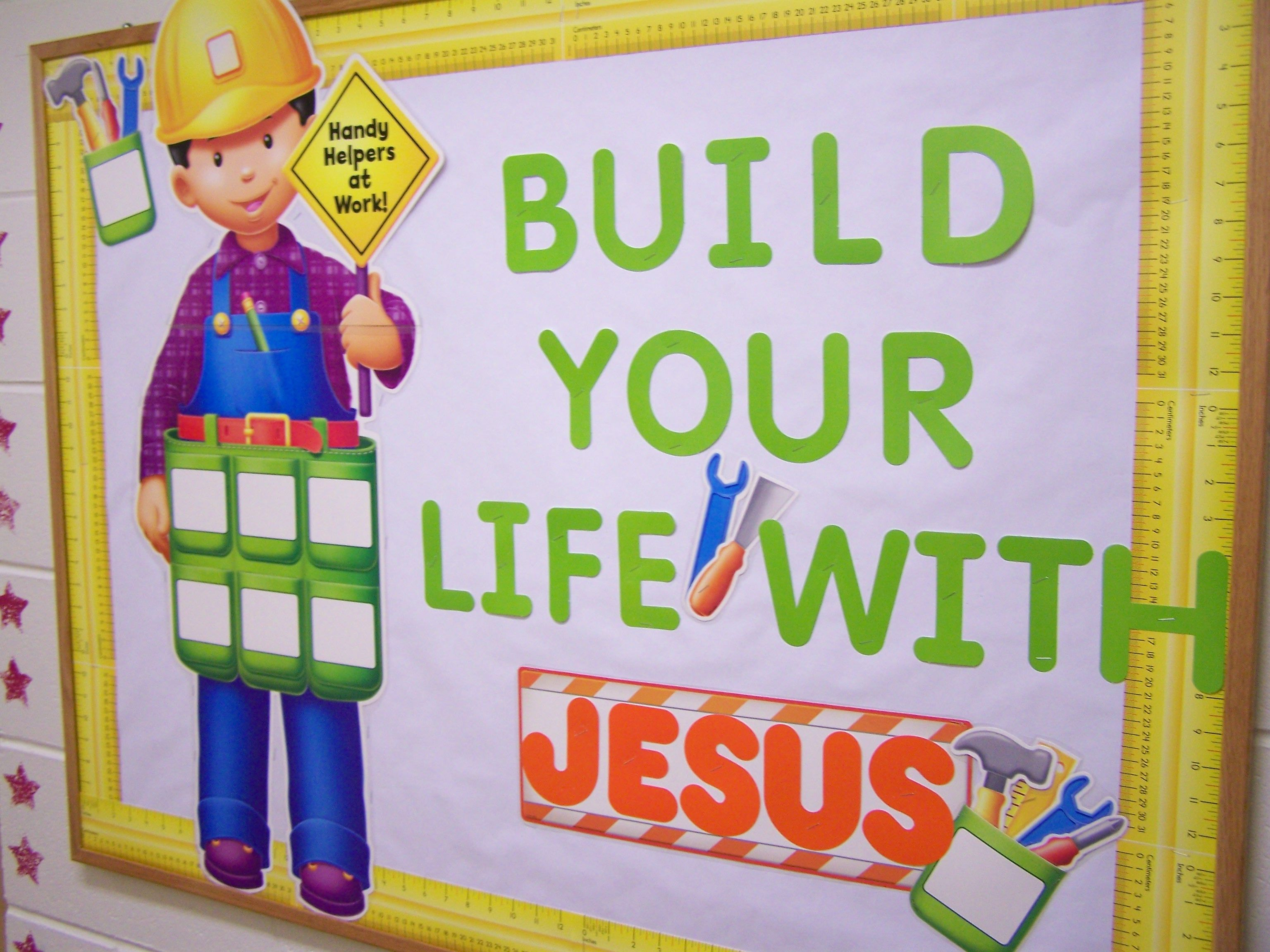 Go green vegetable bulletin board idea myclassroomideas com - Build You Life With Jesus Bulletin Board Idea