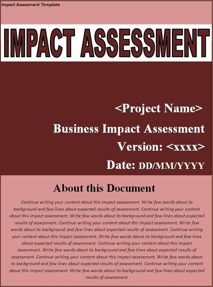 Impact Assessment Template  Wordstemplates    Template