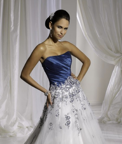 Navy Blue And White Wedding Dress Without Sleeves