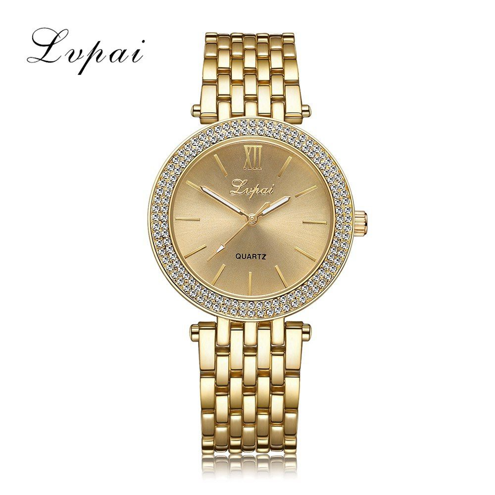 Comprar 2017 lvpai marca mujeres señoras del reloj de acero de lujo vestido  de moda de cuarzo Reloj clásico de cristal de oro mujeres pulsera reloj . 85d634995052