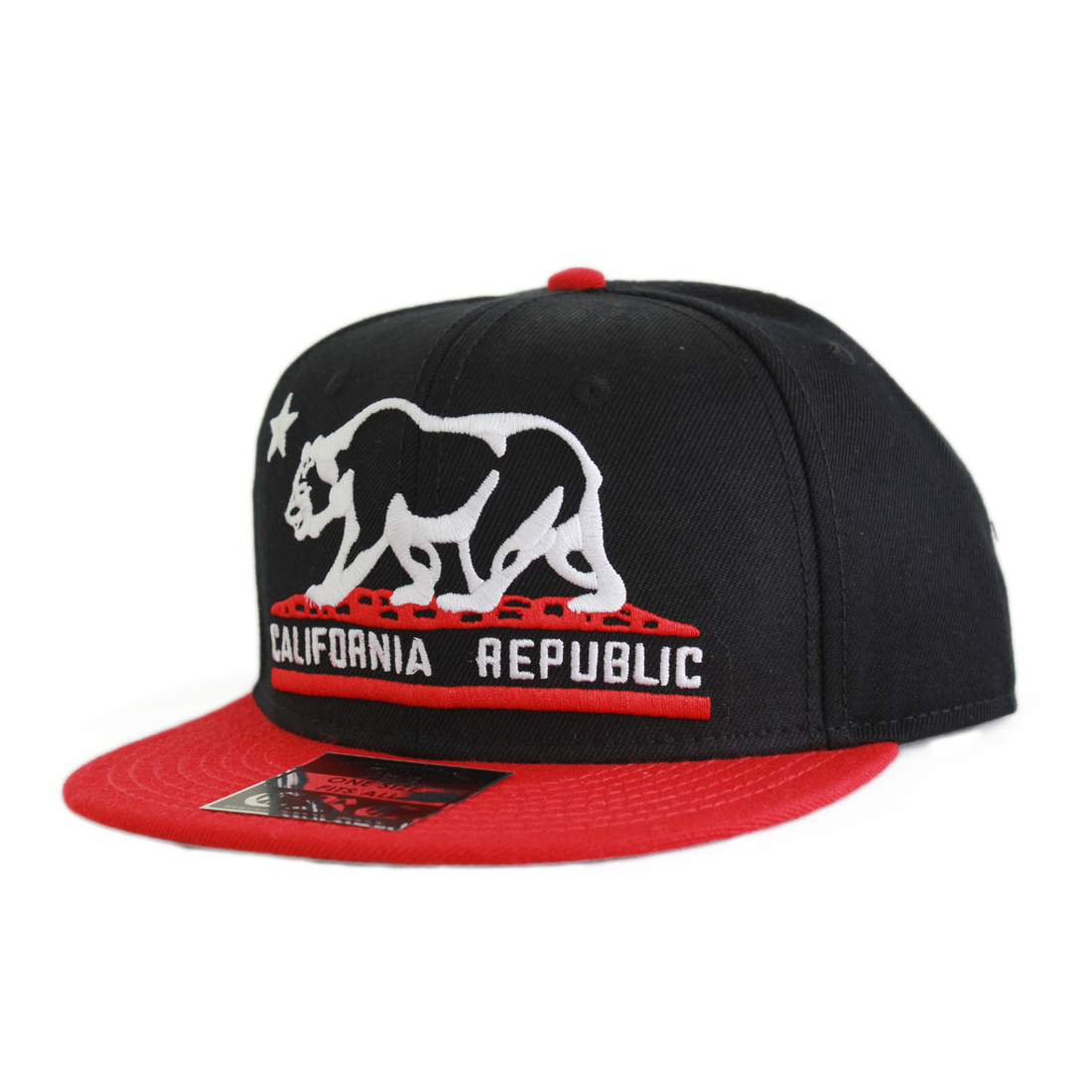 ad31a185 California Republic Embroidered Bear Flag Flat Bill Snapback Hat ...