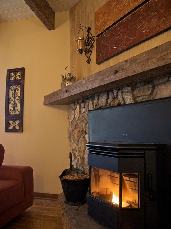 Lime Stone Fireplace With Wood Mantle Design... This Is An Alternative To  Painting