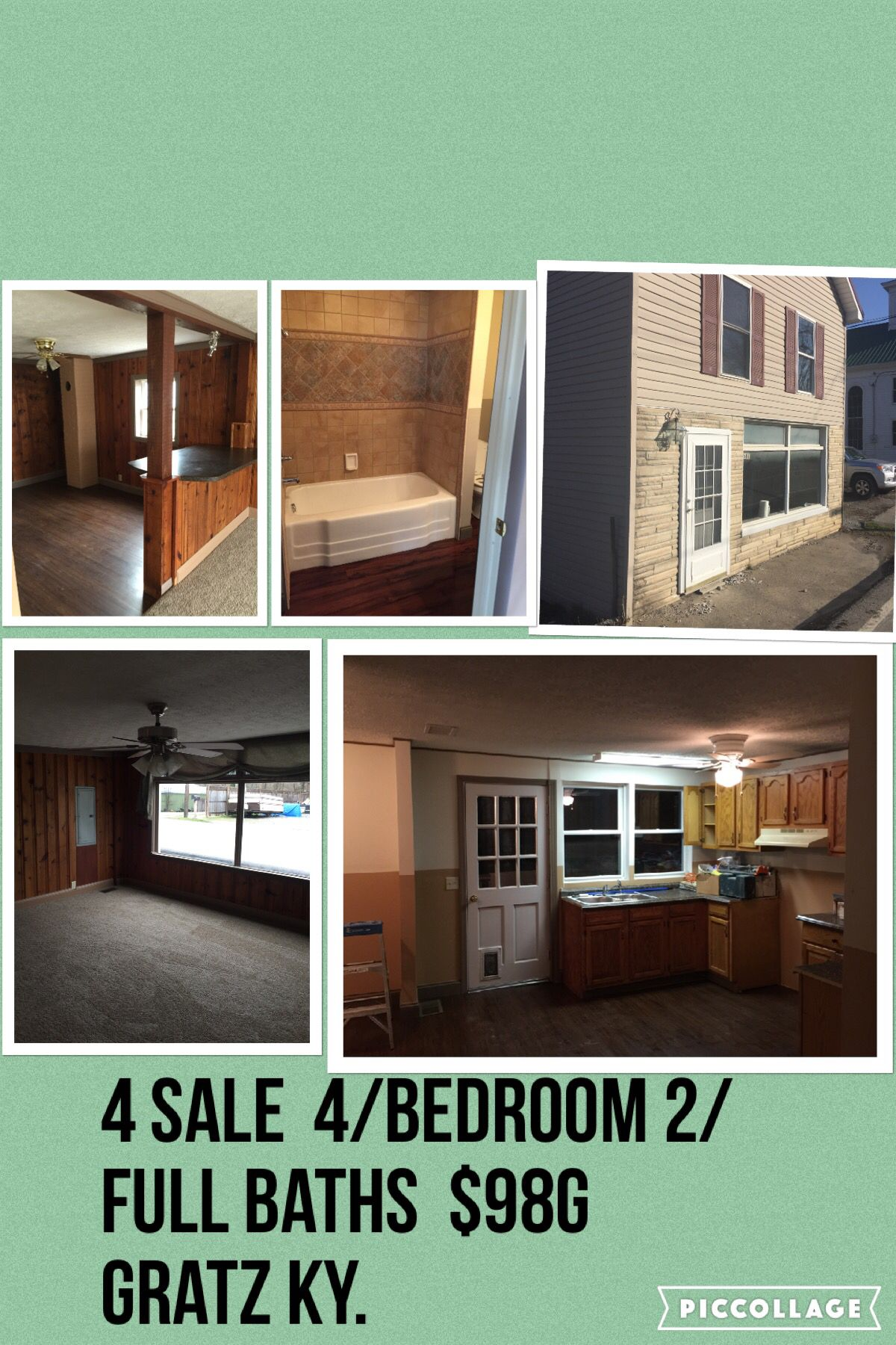 House for sale 4 bedroom 2 full baths. Located in gratz Kentucky . Small Country town. Priced at $98G  Message me to place a bid