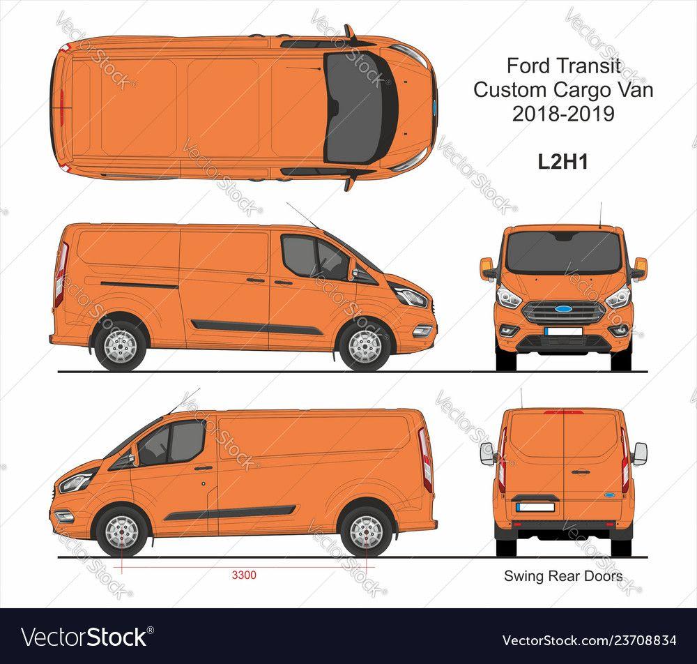Ford Transit Custom Cargo Van L2h1 2018 2019 Vector Image On