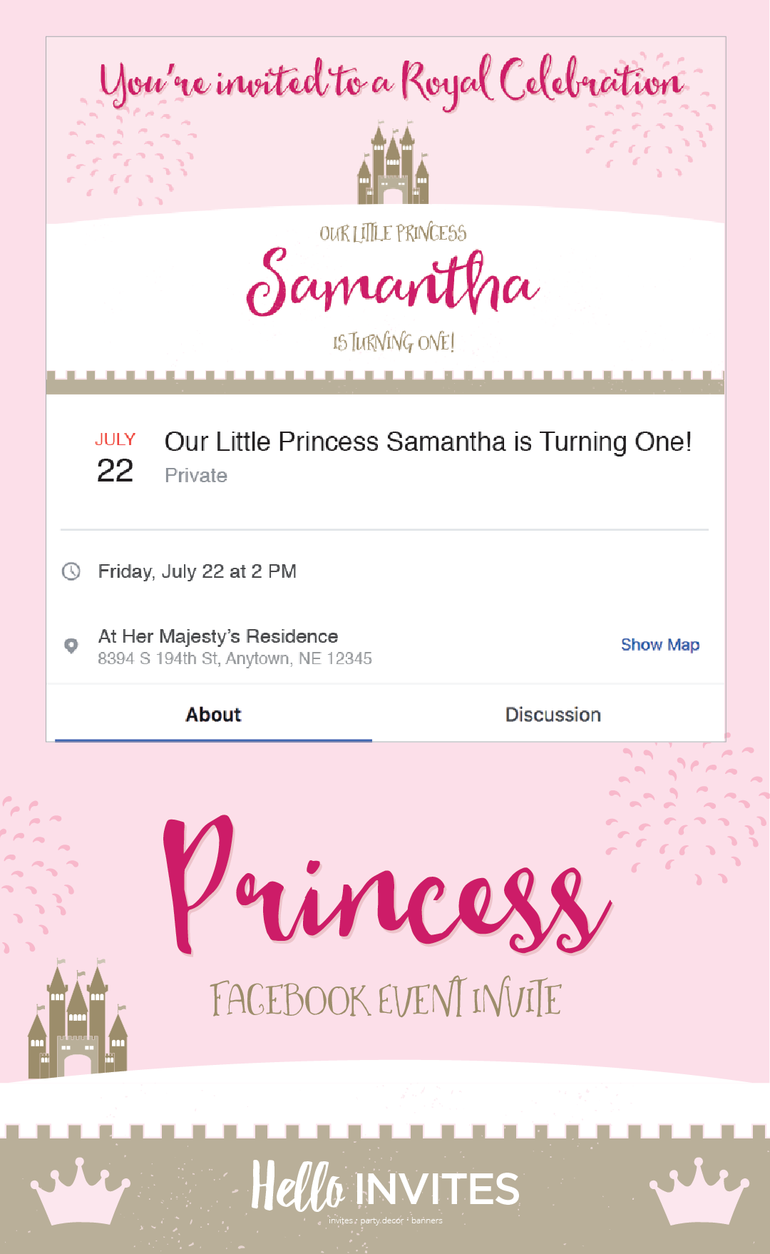 Princess Birthday Facebook Event Invitation Pink Gold Girl Invite Castle Crown Digital Printable