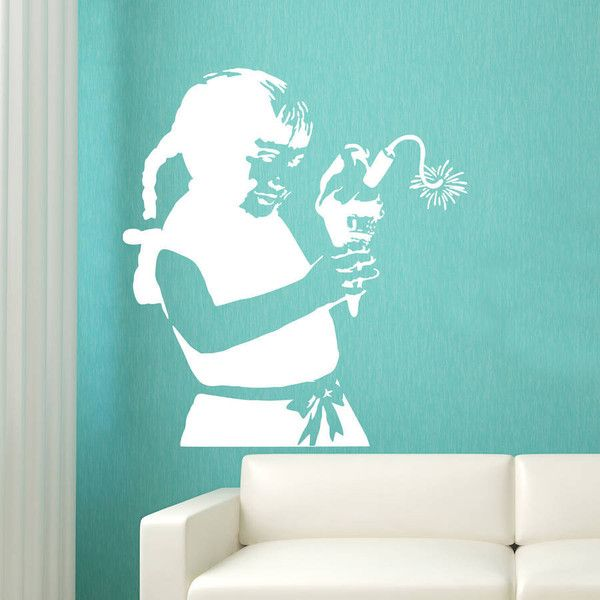 Ta-Dah Wall Art Banksy Ice Cream Girl Wall Sticker (85 ILS) ❤ liked on Polyvore featuring home, home decor, wall art, girls wall art, girls wall decals and girls wall stickers