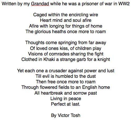 WW2 Prisoner of war poem By Vic Tosh:   worl war 2   Pinterest ...