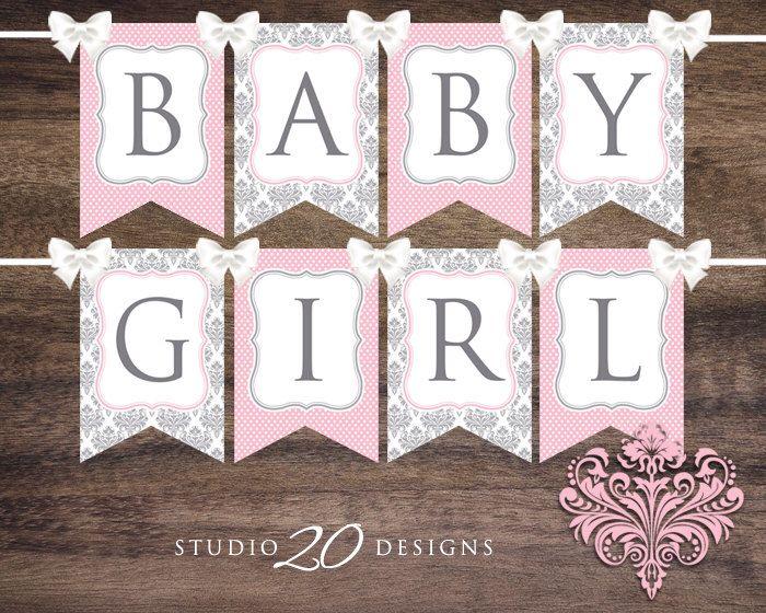 Banner Printable Baby Shower Banner Set Pink Chevron