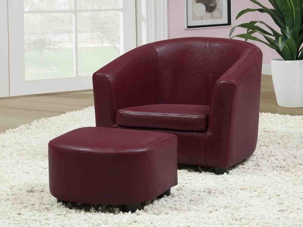 Red Leather Chair With Ottoman