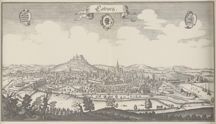 Coburg, fürstliche Residenzschloss, Ehrenburg, Bayern, Kupferstich. Fototapete Merian