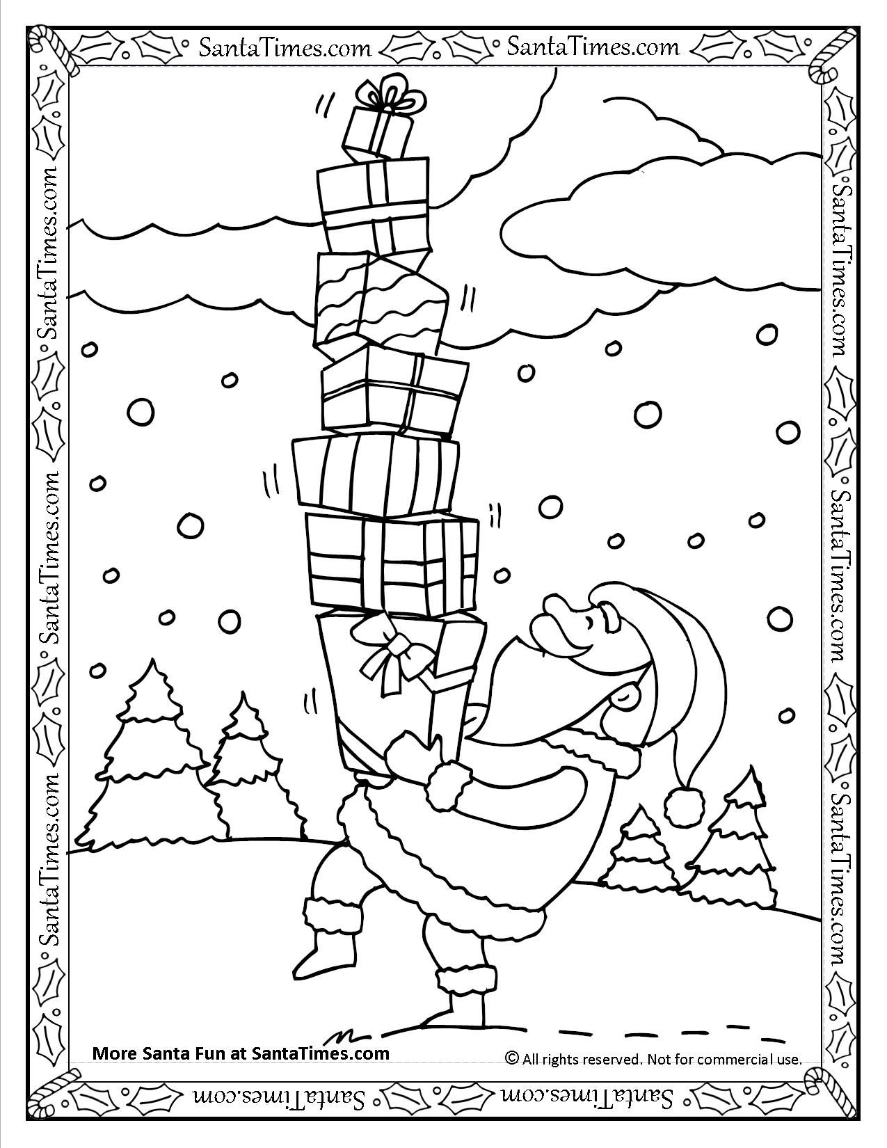Santa With Presents Printable Coloring Page More Coloring