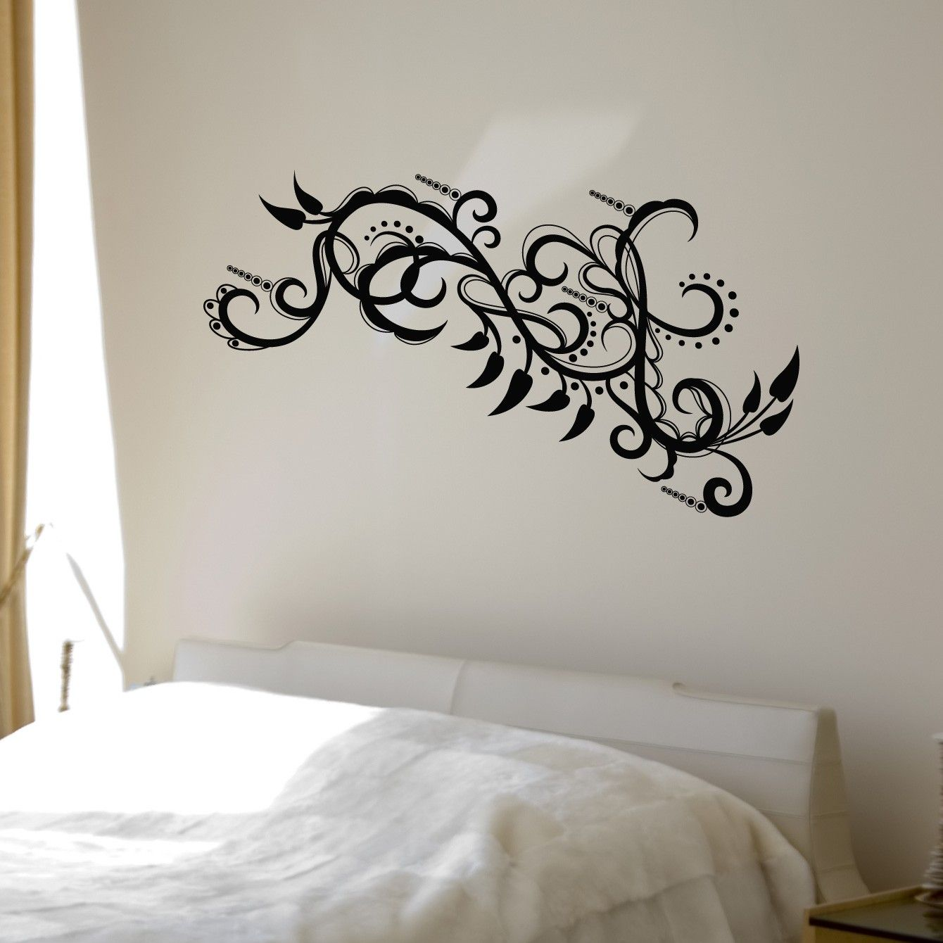 paisley Wall Decals | Paisley Flowers and Intricate Swirls - Wall Decals - BLACK & S A L E - Paisley Flowers and Intricate Swirls - Wall Decals - BLACK ...