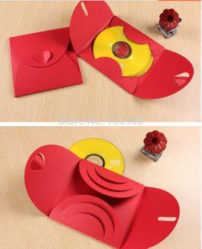 Red card  paper envelope case for dvd/CD, paper DVD/CD  wedding cover ,Holder cd packaging