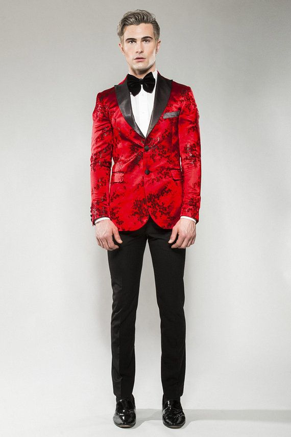 6841e9d8b9f4f8 Icon Mens Red & Black Printed Tuxedo Blazer (wedding, cocktail, men, red,  party, suit, tuxedo, even