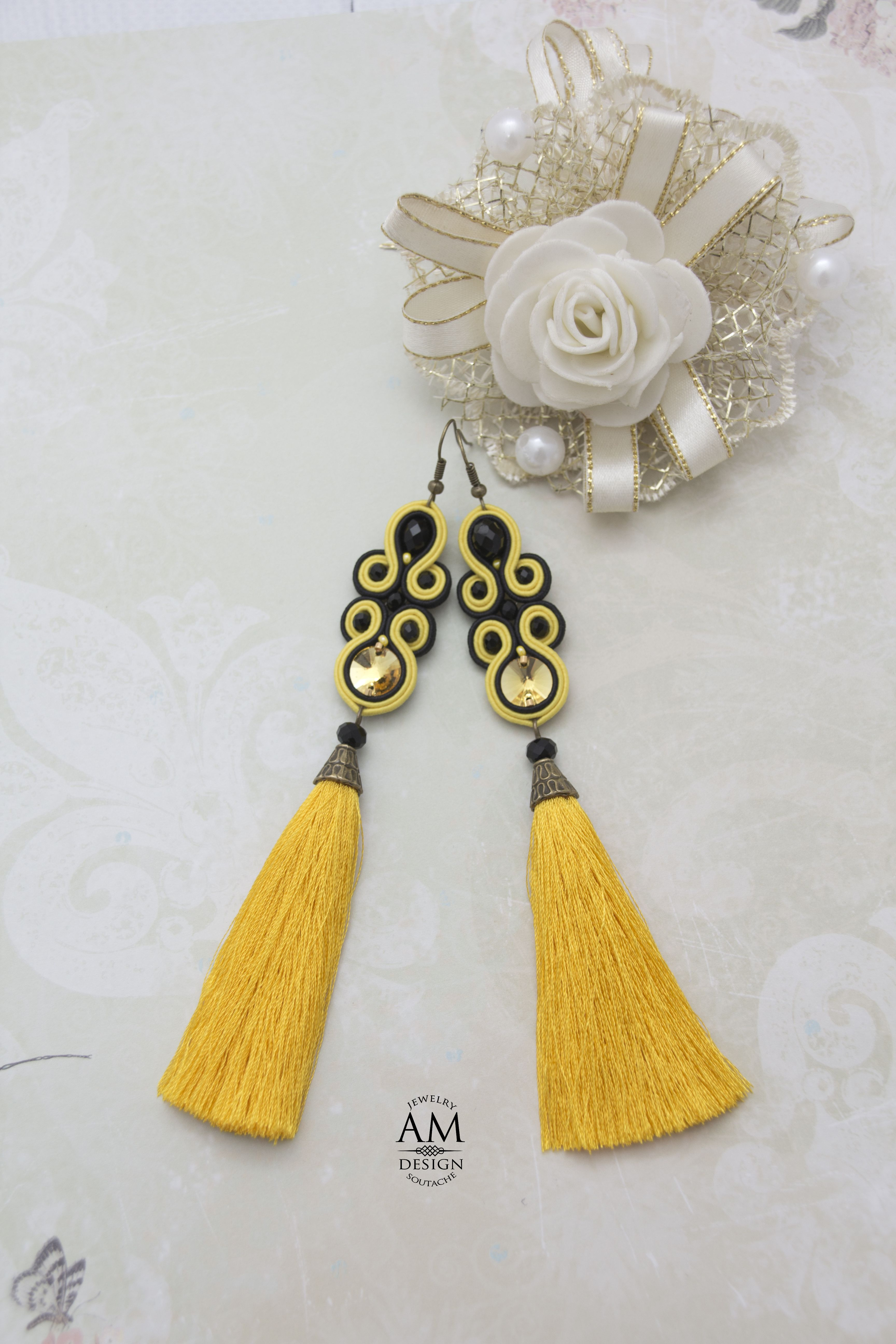 eb1055729 Boho tassel earrings. Long tassel earrings. Yellow silk tassel earrings. Swarovski  crystal earrings