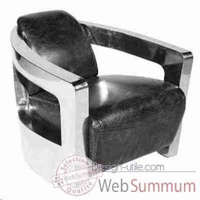 Fauteuil mars en cuir couleur noir avec finition en acier brillant h